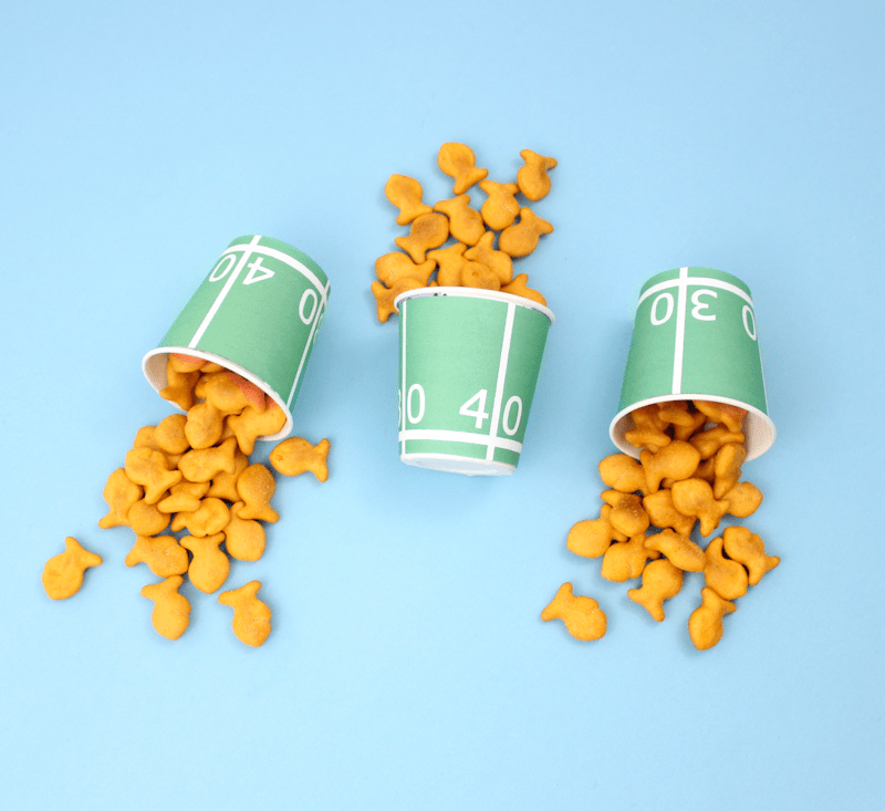 Free Printable Football Field Yards Snack Cups with Goldfish