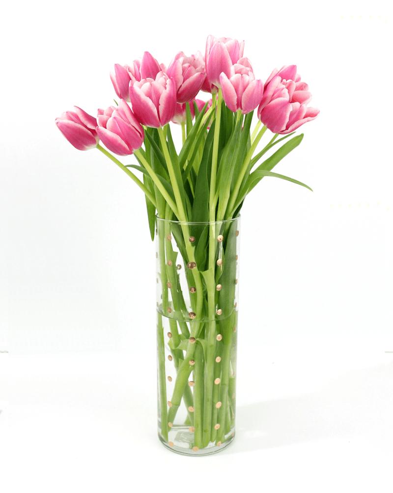 DIY Gold Polka Dot Vase - a perfect handmade Mother's day gift idea