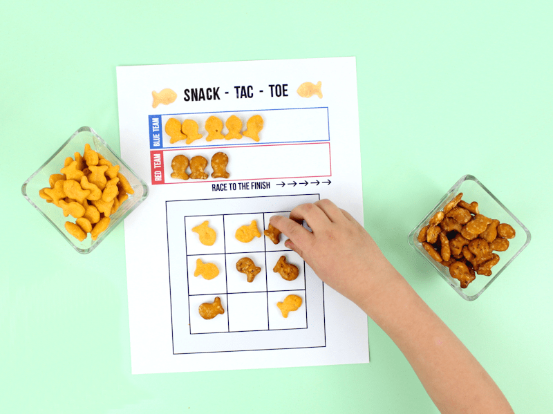 Fish Tac Toe - with Goldfish Crackers