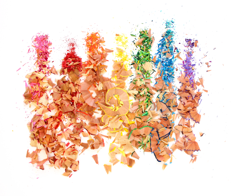 Rainbow colored pencil shavings