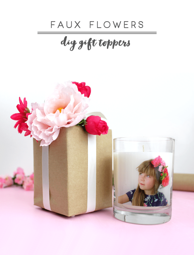 Faux Flowers DIY Gift Toppers - Mother's Day gift wrap idea