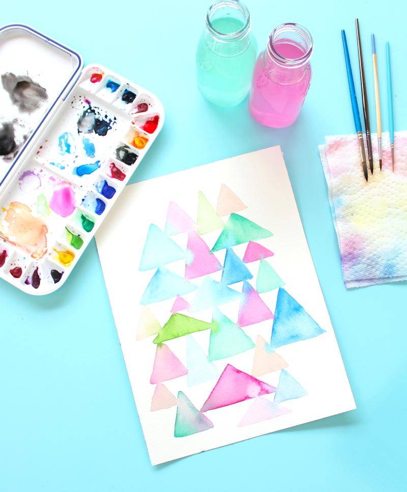 Triangle watercolor art @linesacross