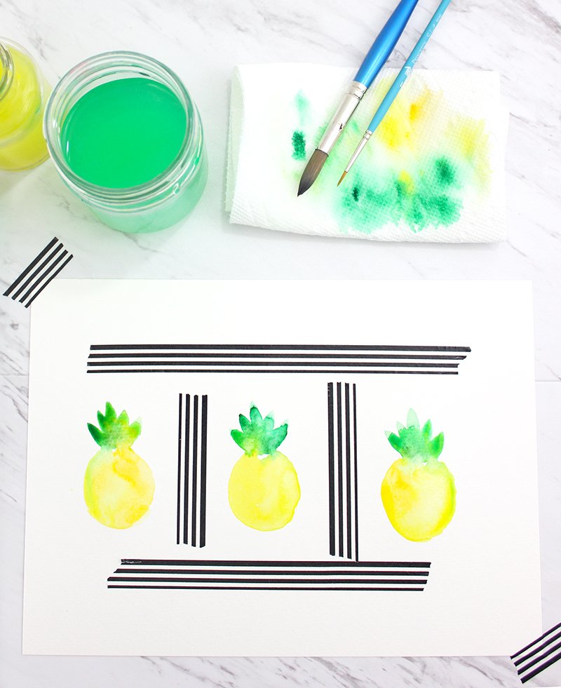 How to paint a pineapple @linesacross - watercolors