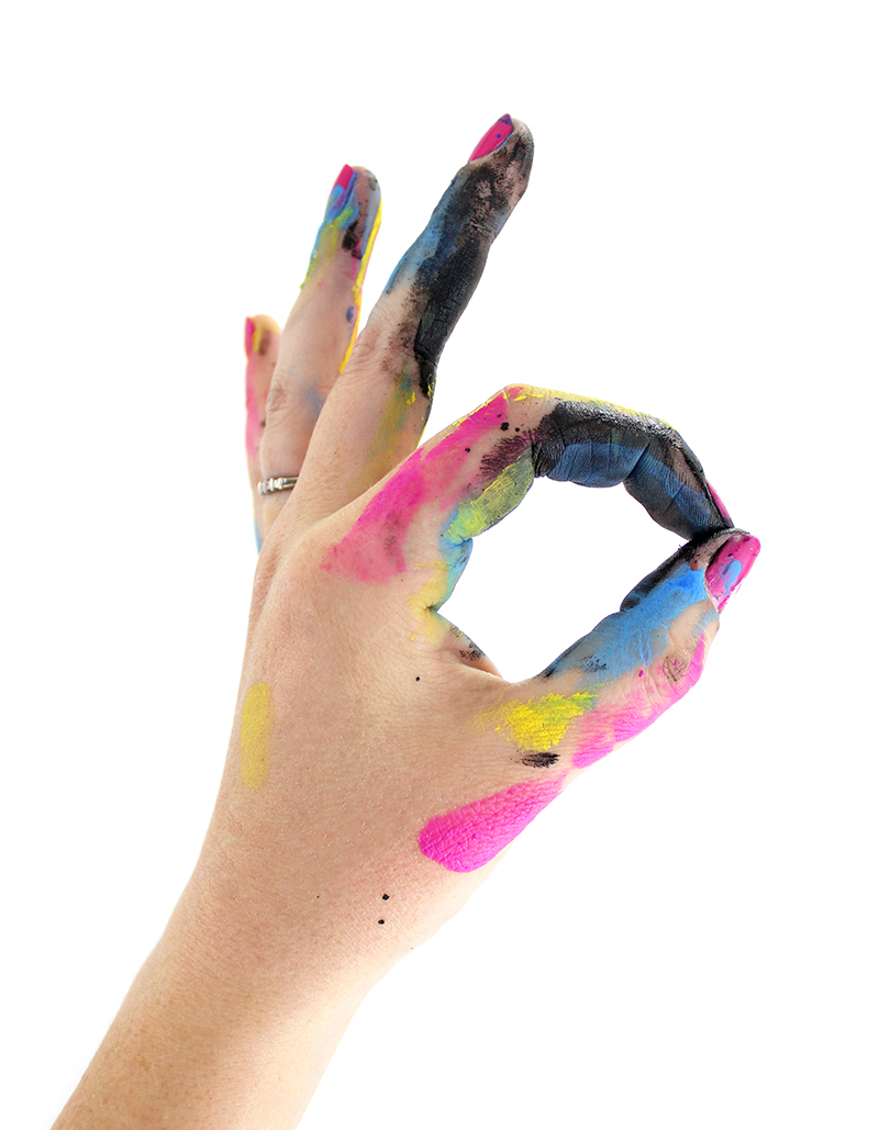 Paint covered hands @linesacross