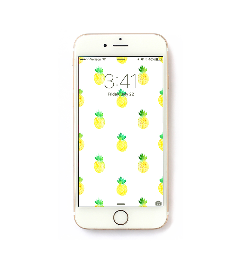 free watercolor pineapple iphone wallpaper @linesacross