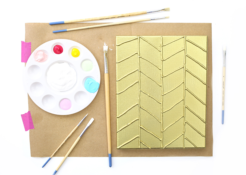 DIY Gold Textured Canvas - Cover it in gold spray paint