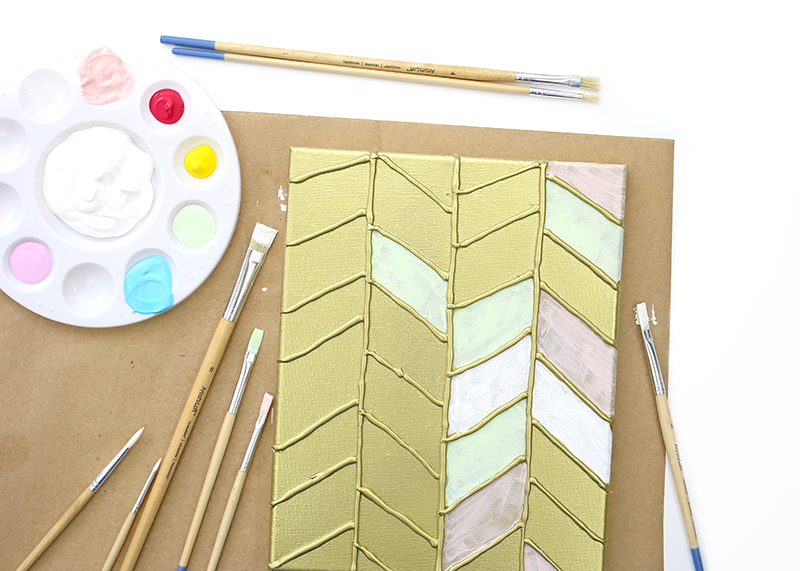 DIY Gold Textured Canvas - Step 6 - Start Painting