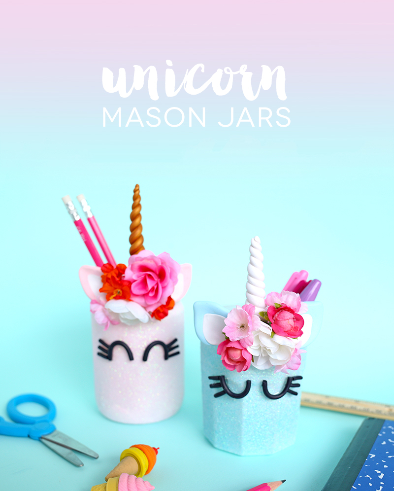 Unicorn Mason Jars Lines Across