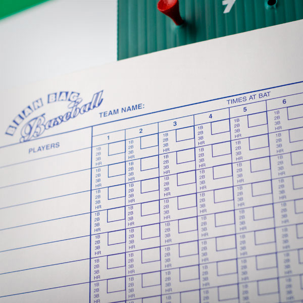 Baseball Score Sheet, Scorecard, Scorekeeping Information  Photo