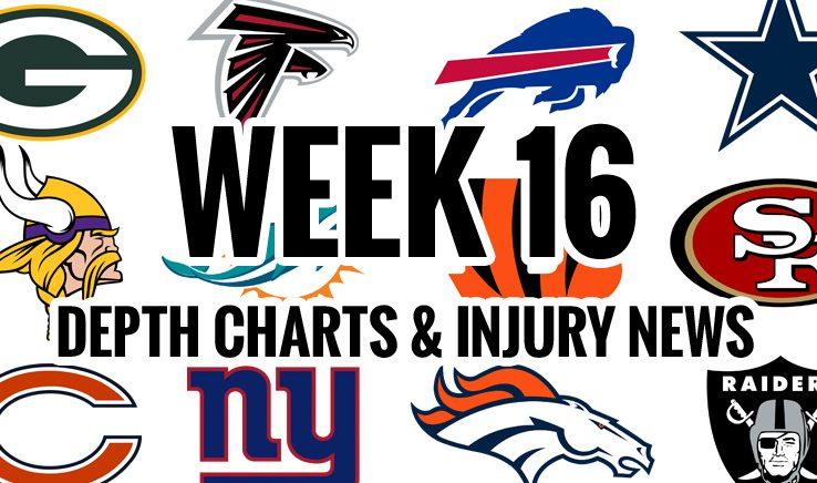 NFL Week 16 Depth Chart  Injury News - Lineups Articles