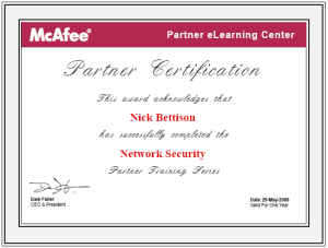 McAfee Technical Professional in Network Security