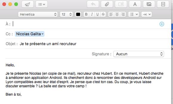 courriel pour envoyer cv