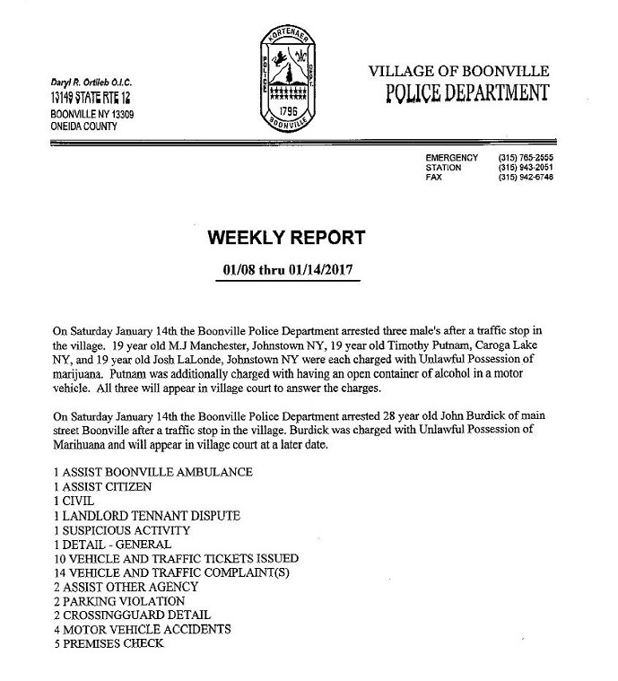 Boonville Police Department Weekly Activity Report January 08 - 14