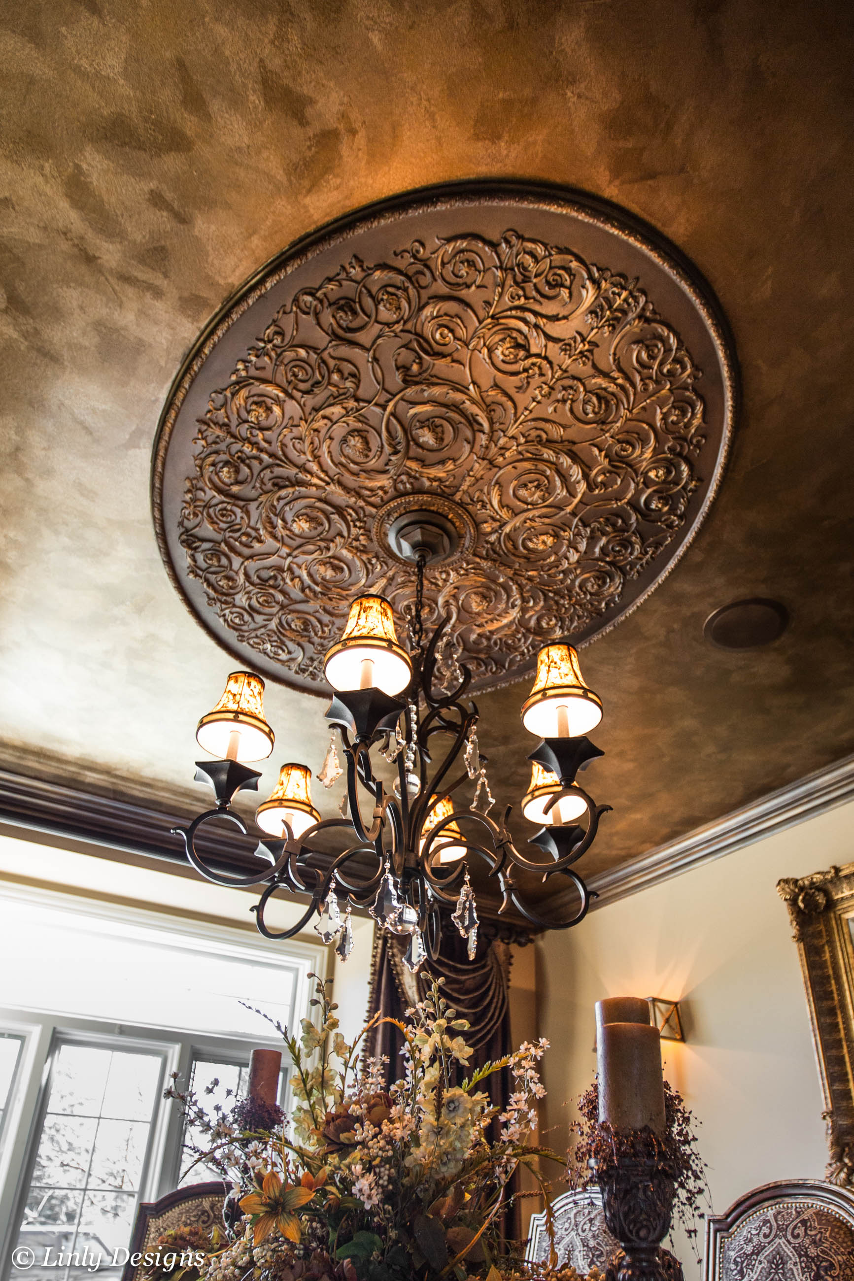 Black Crown Wallpaper South Barrington Dining Room Project Linly Designs