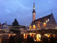 Christmas market in Tallinn main square in the evening