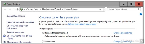 Power Setting Windows 10 Courtesy: PC World
