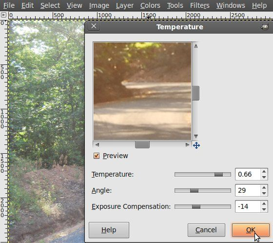 how to change color temperature in gimp