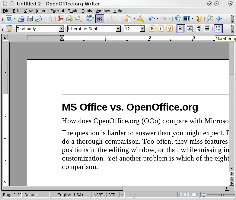 OpenOfficeorg vs Microsoft Office Linux Journal - microsoft office versions comparison chart