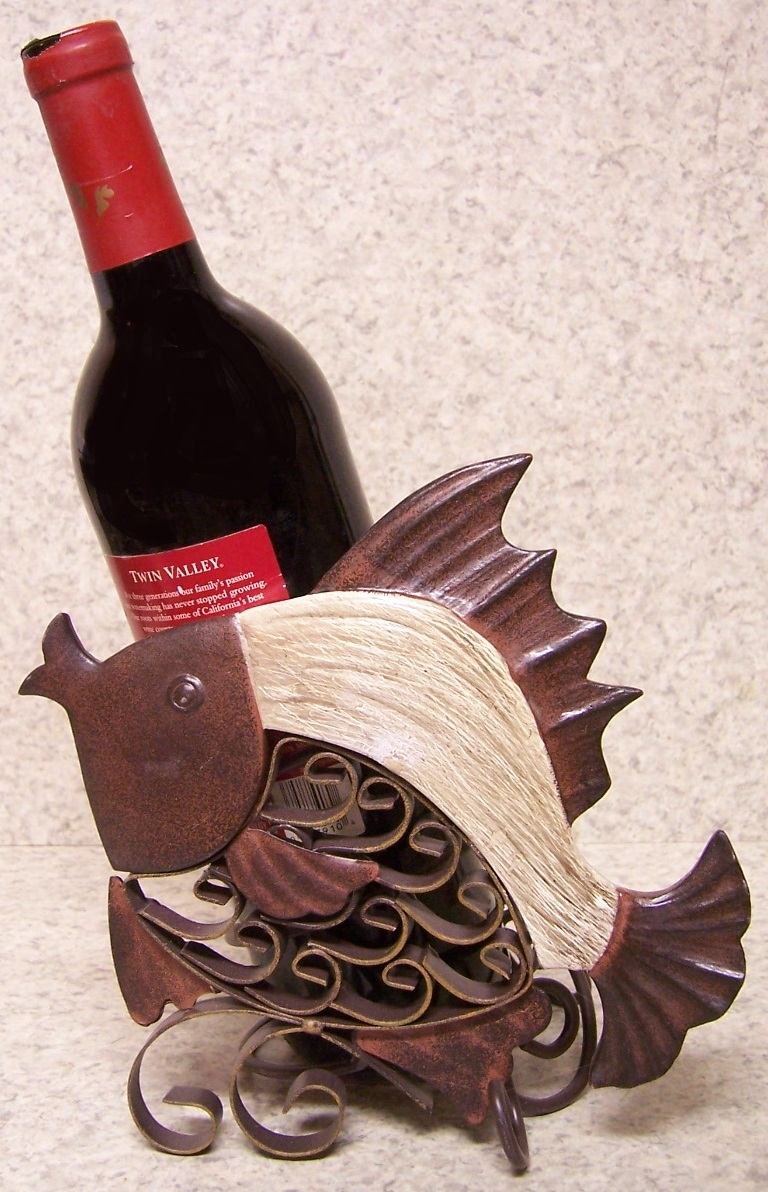 Wine Bottle Holder And Or Decorative Sculpture Fish New Ebay