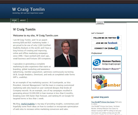 W Craig Tomlin website