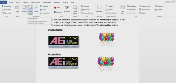 Adding alternative text to an image in Microsoft Word