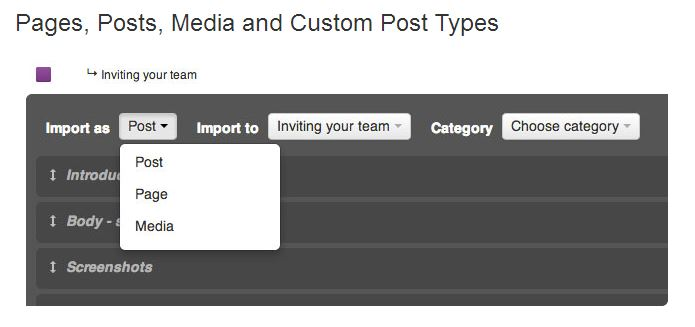 Selecting options for WordPress pages, posts and media types in GatherContent