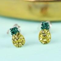 Sterling Silver Diamante Pineapple Stud Earrings | Lisa Angel