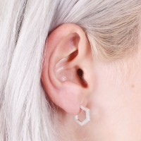 Small Silver Hexagonal Hoop Earrings | Lisa Angel Jewellery