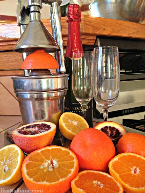 Citrus, juicer, chapagne flutes and bottle of champagne. Happy New Year  LisaNalbone.com
