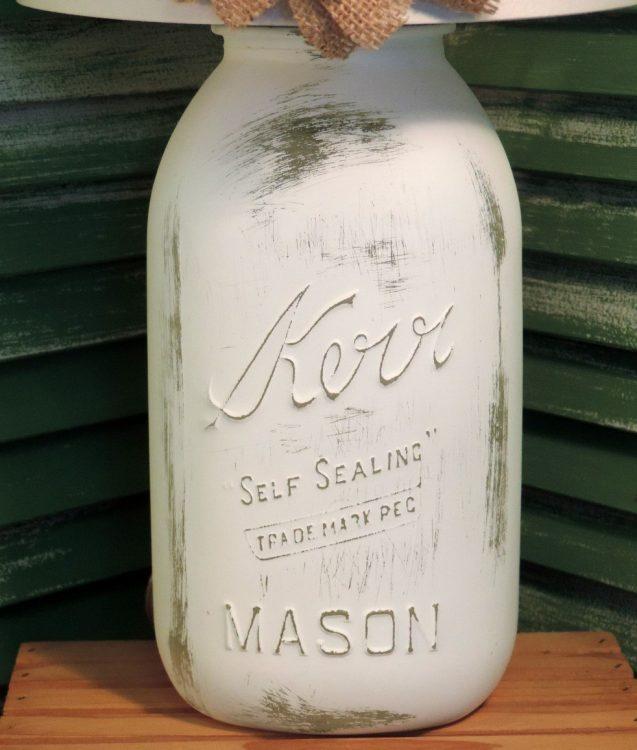French White Mason Jar Lamp With Burlap Floral Shade