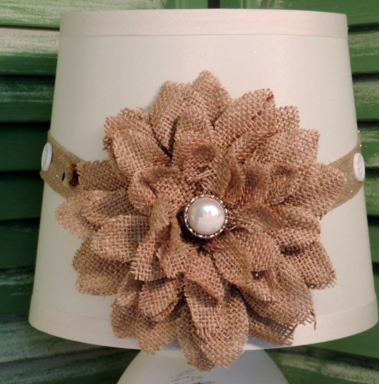 French White Mason Jar Lamp With Burlap Floral Shade