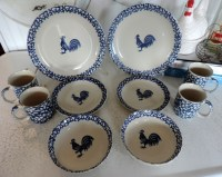 10 Pc. FolkCraft Spongeware Rooster Stoneware Dish Set By ...
