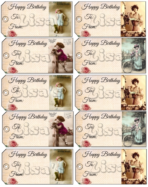 Printable Victorian Shabby Chic Birthday Gift Tags Digital Download