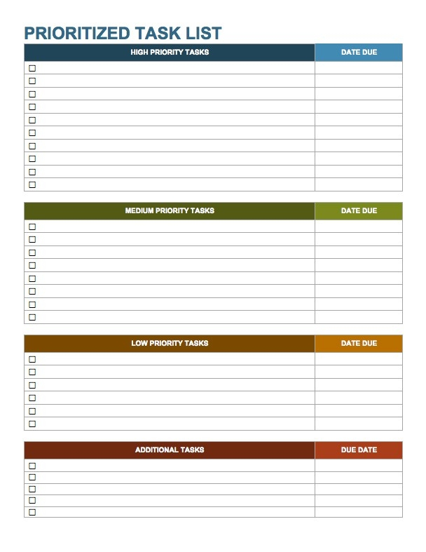 Weekly Work To Do List Template Examples and Forms