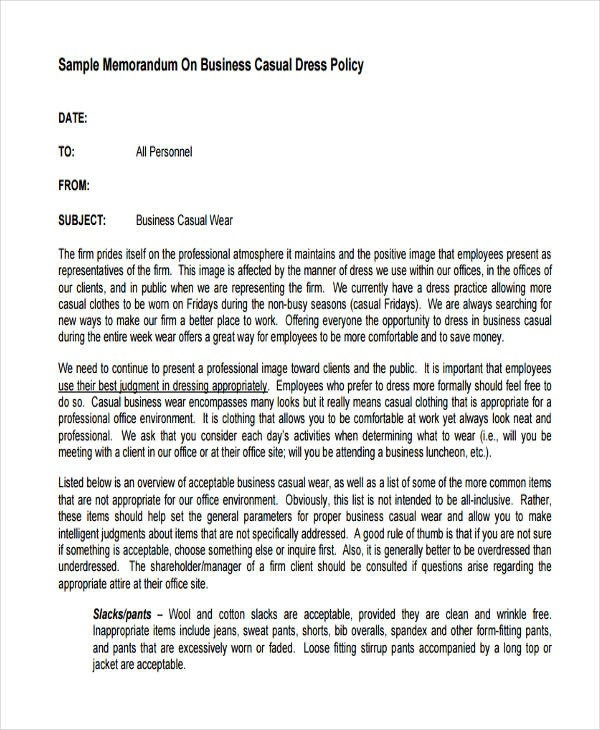 Memo Format Examples Examples and Forms
