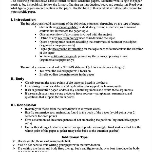 Basic-Research-Paper-Outline-Template Nursing Life Pinterest - paper outline template