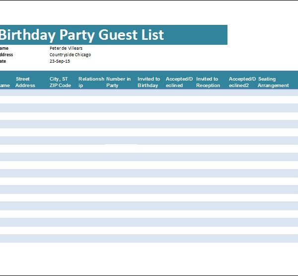 Birthday Party Guest List Template Word  Excel Templates within