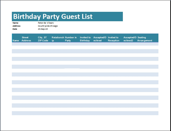 Birthday Guest List Template Examples and Forms - party guest list template