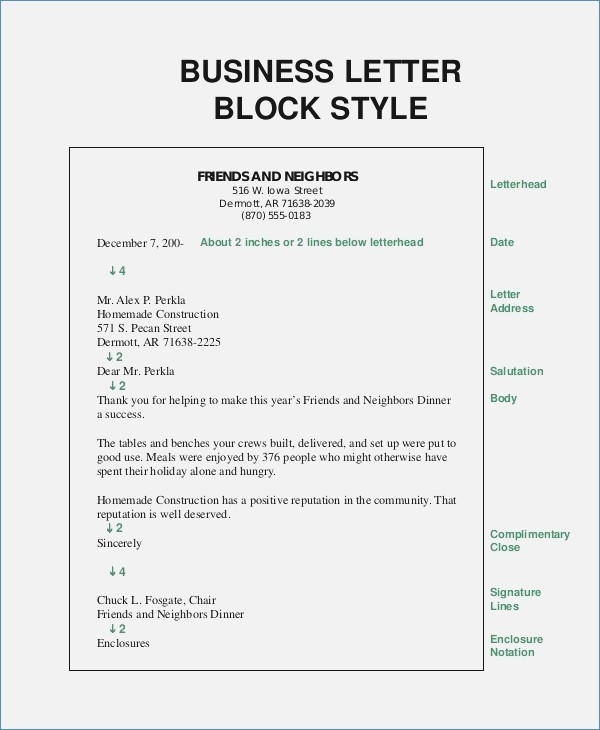 Personal Business Letter Format Block Style Examples and Forms