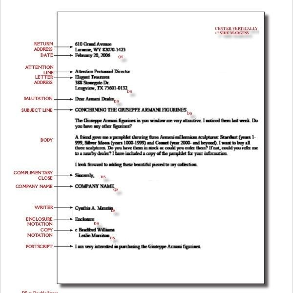 Business Letter Format Spacing Letters Example regarding Business