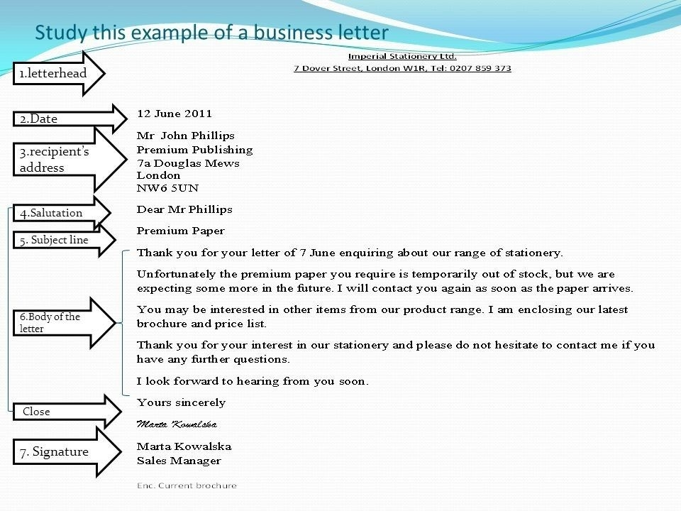 Business Letter Format With Subject Line Examples and Forms - business letter