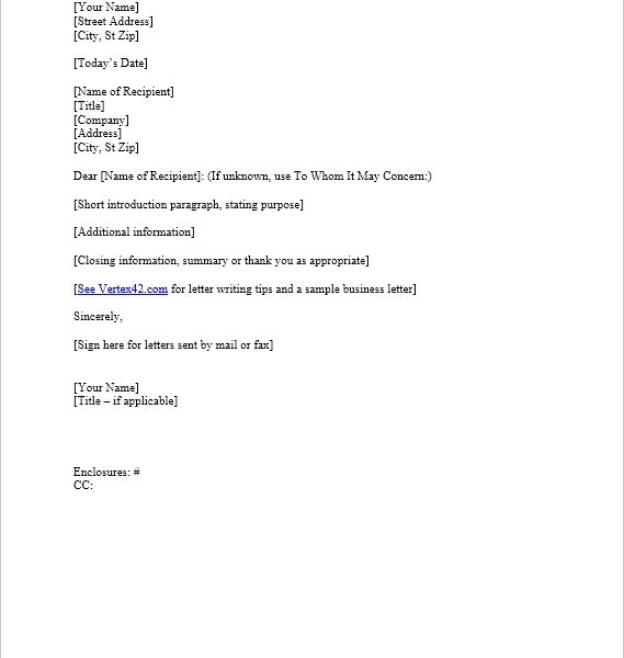 Business Letter Template For Word Sample Business Letter for