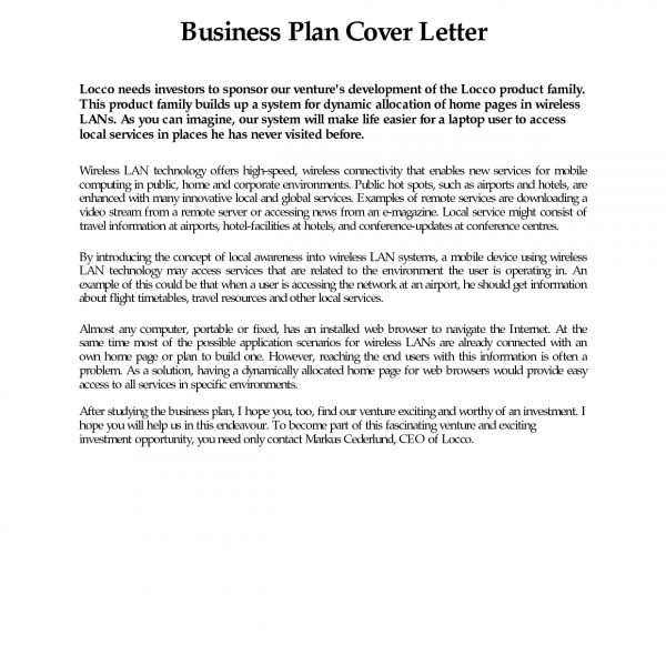 Business Plan Cover Letter Sample Free Example Page Examples in - business proposal cover letter