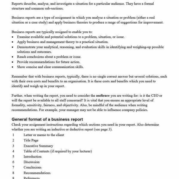 Business Report Format Template Template\u0027s for Business Report