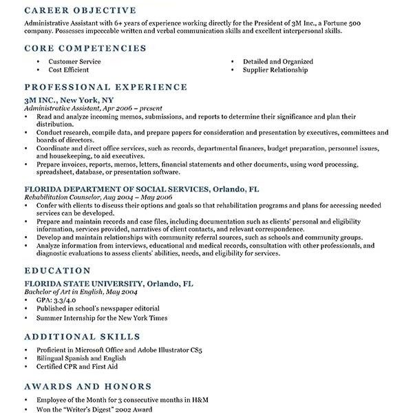 Carrer Objective Resume Samples Fresh Graduate For Administrative in
