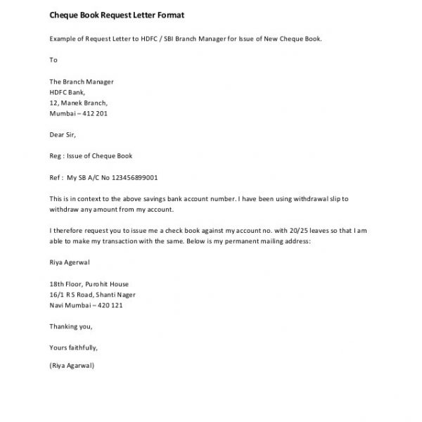 Cheque Book Request Letter Format Example Of Request Letter To with