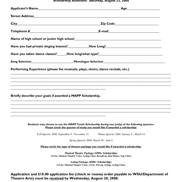 College Application Form Template \u2013 Fieldstation with Scholarship