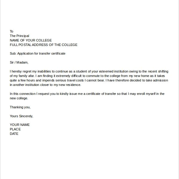 College Application Letter Templates \u2013 9+ Free Word, Pdf Format