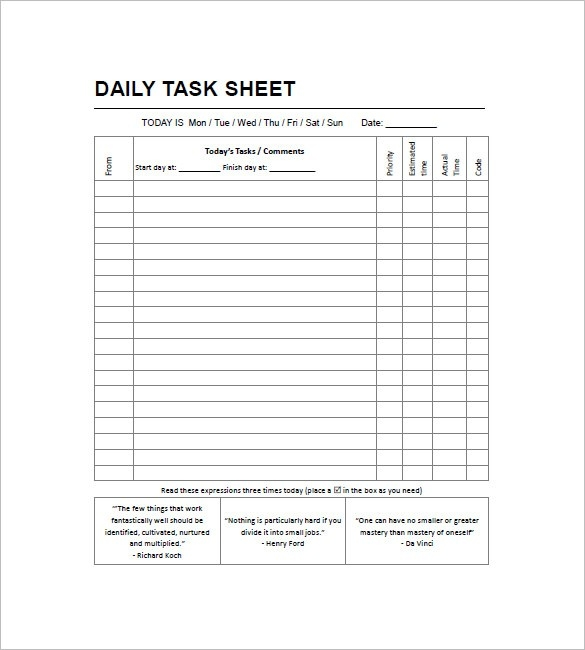 Daily Work To Do List Template Examples and Forms - sample to do list