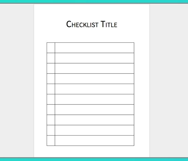 Download Your Free Microsoft Word Checklist Template Process